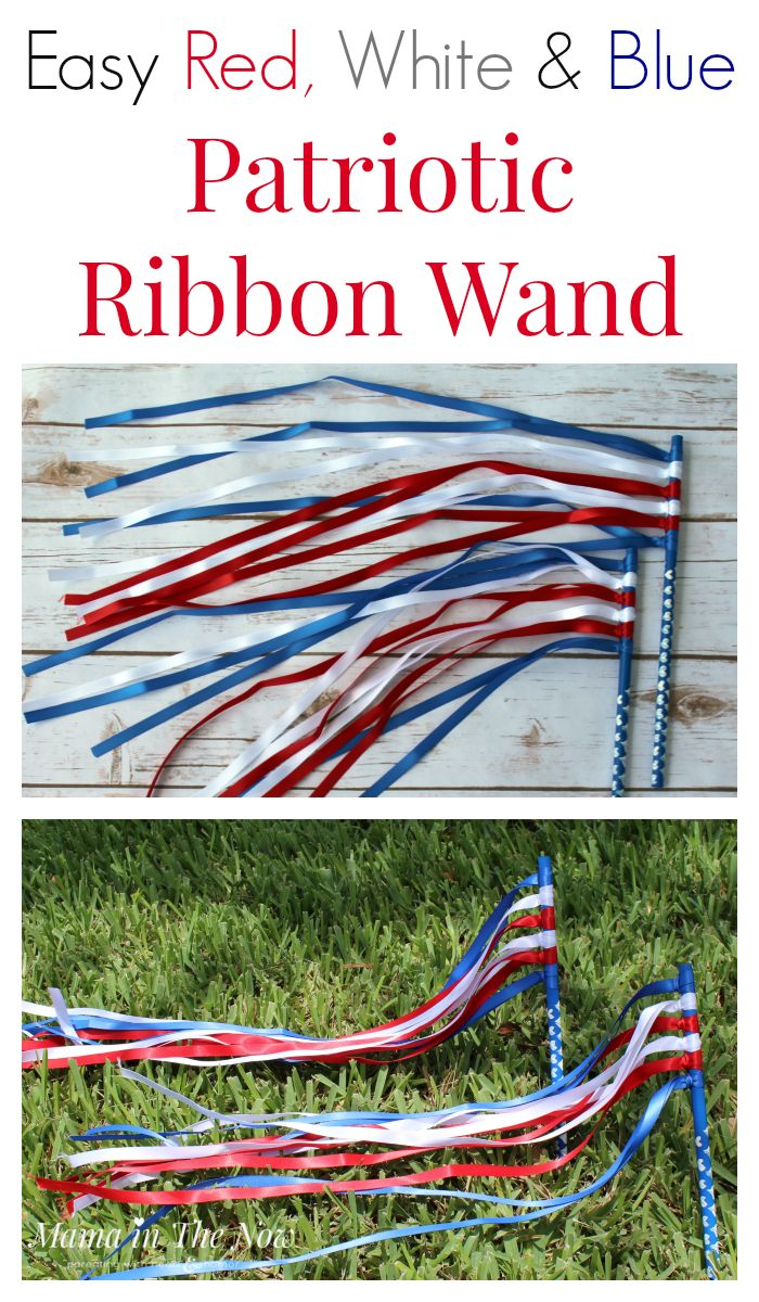 Easy DIY red, white and blue patriotic ribbon wands for at-home dance parties, parades and toddler fun. Preschoolers love to dance with ribbon wands. Celebrate 4th of July, Memorial Day, Veterans Day - any day is a party when you make your own ribbon wand.