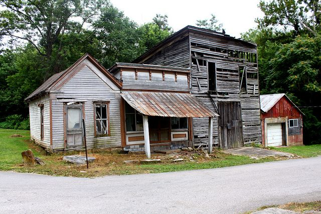 Some of the few remaining abandoned buildings from old Leavenworth, Indiana…