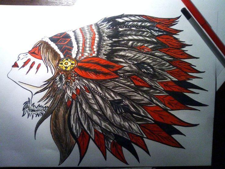 Рисунки карандашом, индеец, лицо, люди