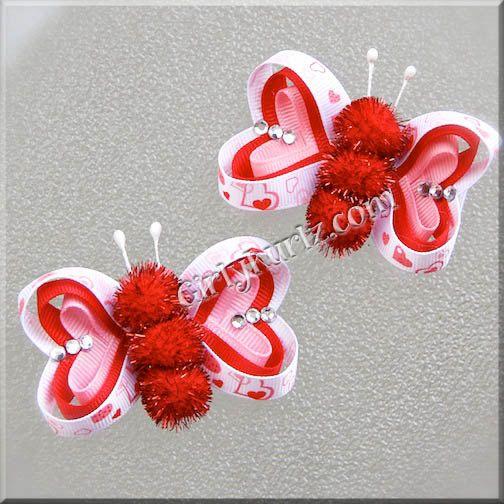 Valentine's Butterfly Hair Clip Valentine Hair Clip Valentine Hair Bow Pink Red White. $7.20, via Etsy.