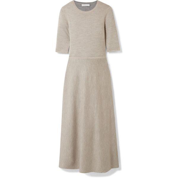 Gabriela Hearst Enid reversible wool-blend midi dress ($1,310) ❤ liked on Polyvore featuring dresses, midi cocktail dress, cocktail dresses, brown evening dress, reversible dress and fit flare dress