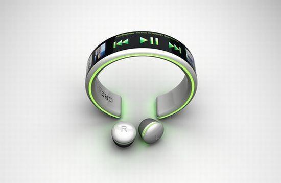 Bracelet styled MP3 player w/ wireless earbuds