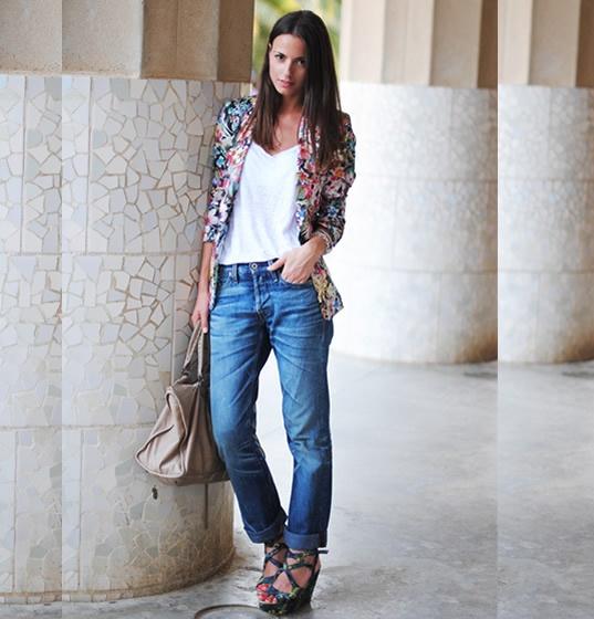 Light Pink Blazers, Boyfriend Jeans, Denim Style, Jeans Fashion 20, Street Style, Prints Blazers, Fashion Inspiration, Boyfriends Jeans, Style Fashion