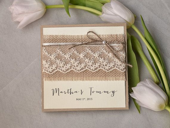 Recycling Paper, Burlap Invitation, Lace  Wedding Invitation, Pocket Fold Rustic  Invitation , Shabby Chic Wedding invitation, on Etsy, £3.31