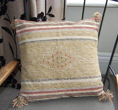 "New 2 handwoven cushion covers 100% cotton green terracotta cream kilim 16"""