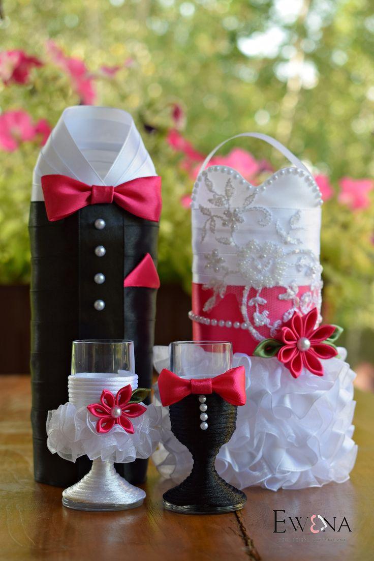 Komplet ślubny - ubranka na butelkę i kieliszki