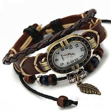 unisex európai stílusú levél bőr karkötő Watch – USD $ 8.99
