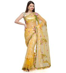 Yellow Brasso and Net Saree | Fabroop USA | $49.99 |