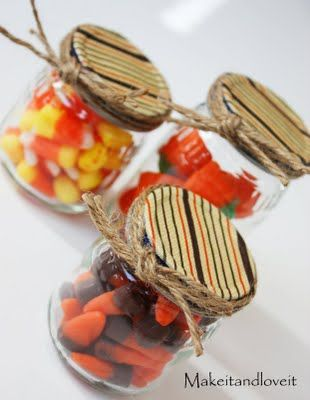 Mod podge fabric on the top of a baby food jar, hot glue twine around the edges, tie in a bow and stuff jars with goodies!