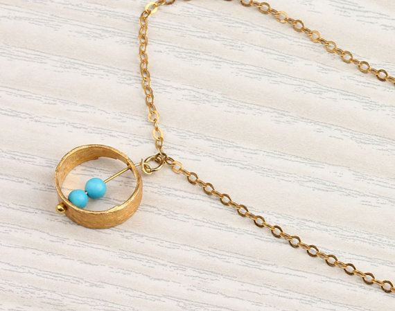 Turquoise circle necklace gold ring necklace by OlizzJewelry, $20.90