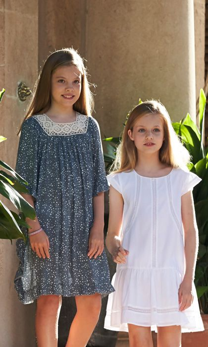 Sofia (left) and Leonor (right) looked stylish in summer dresses.