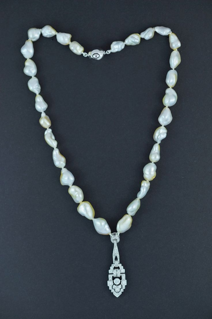 """AFTER AFTER Diamond """"deco"""" necklace with keshi pearls"""