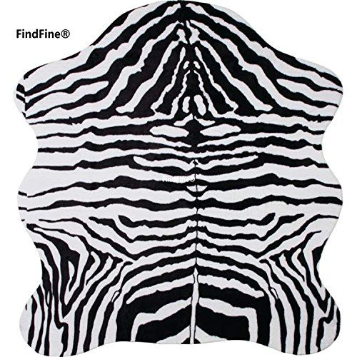 Zebra Print Rug 5x4.6 Feet faux Zebra hide rug Animal printed carpet for home FindFine