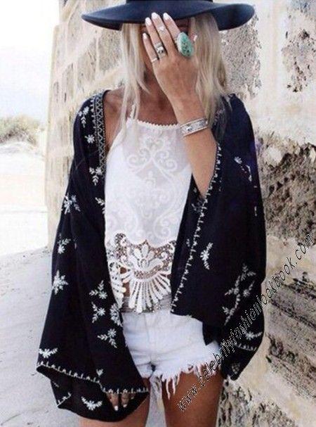 Embroidered Kimono Wrap #embroidered #kimono #wrap #bohemian #bohostyle www.celebrityfashionlookbook.com