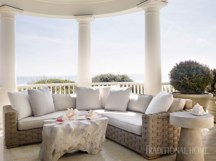 A Woven Sectional On The Porch Is Accommodating For The Whole Family.    Photo: