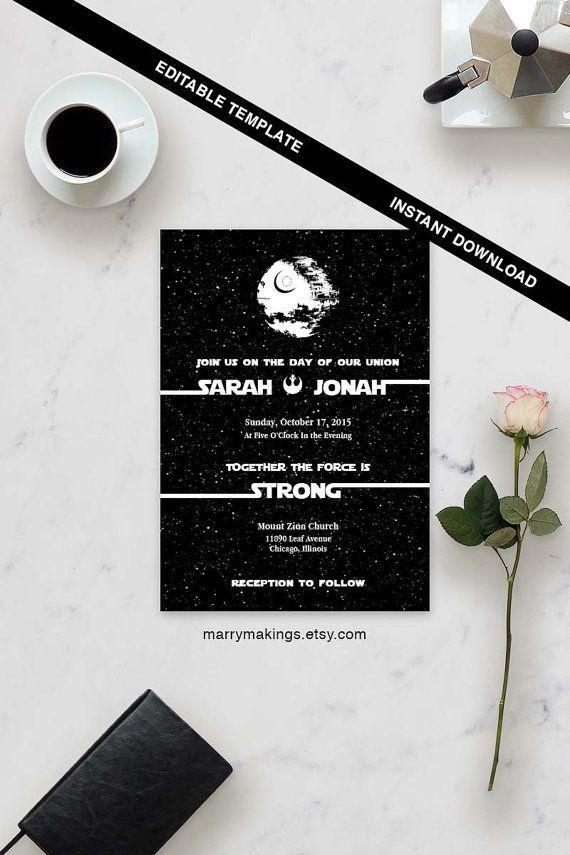 Wedding Template | Printable Wedding 16 | Editable Wedding Templates | Wedding Invitation template | INSTANT DOWNLOAD | Star Wars Wedding:
