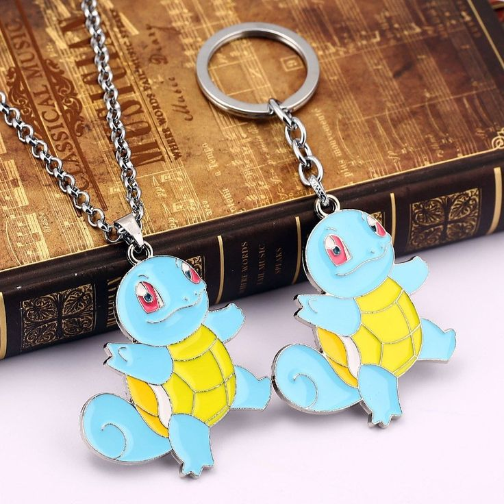 Fancy Pokemon Squirtle Keychain + Necklace