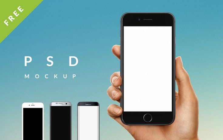 iPhone 7 / Galaxy s7 edge in Male / Female Hand PSD mockup