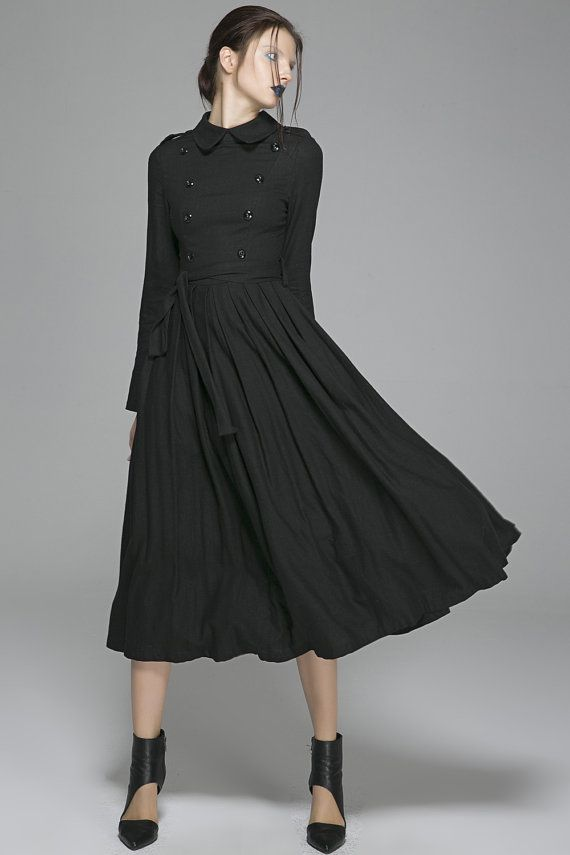 Black linen dress woman long sleeve dress custom made by xiaolizi