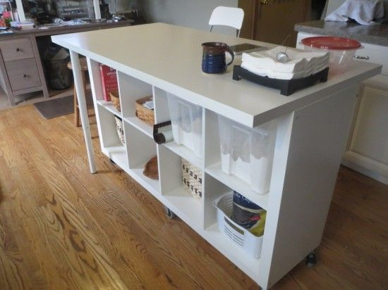 Extendable kitchen island using expedit and linmon ikea for Ilot de cuisine table et rangement