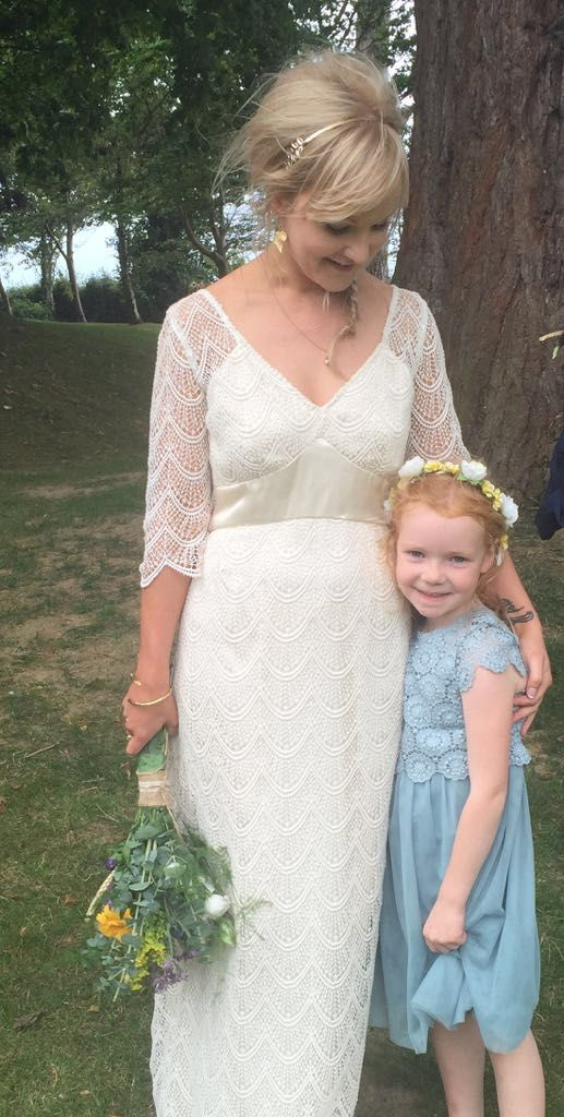 Wedding of Sarah Bracken & Wayne Soper. Sarah looking very elegant in her beautiful dress made from 100% Cotton lace from CLOTH Dublin
