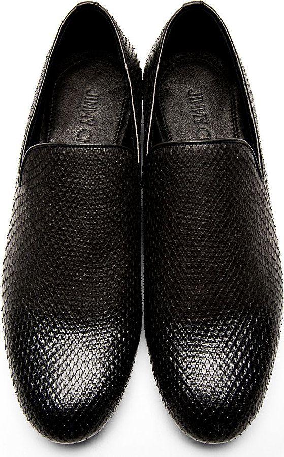 Jimmy Choo: Black Snakeskin Sloane Loafers