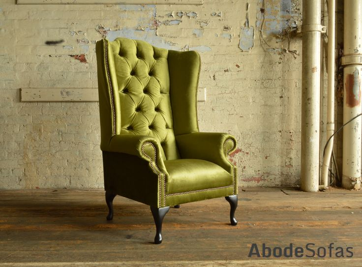 Modern British Handmade Geneva deep buttoned Chesterfield High Back #Chair, shown in a Plush Spring Green Smooth Velvet. High Back Chair | Abode Sofas