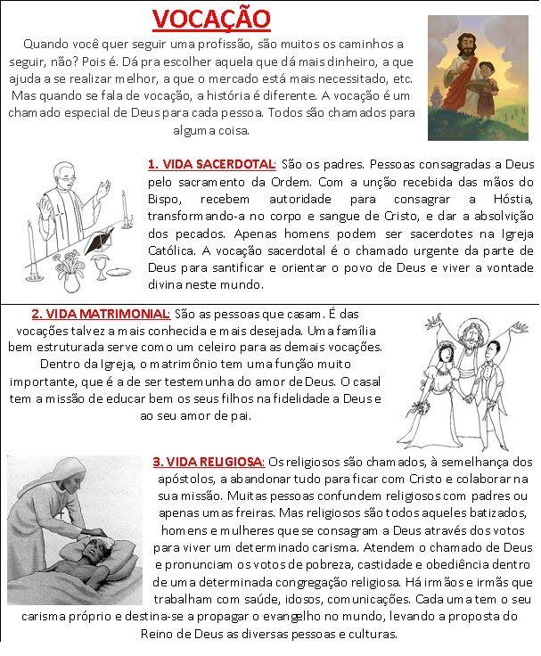 Catequese Infantil Vocacao Resumo Para As Criancas Catequese