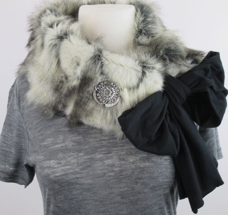 Snow Fox Faux Fur scarf-#glam #brooch #vegan #game changer www.jamiekreitman.com