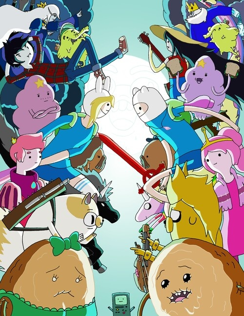 The left side represents the world inside Ice King's imagination, Fiona and  Cake, and the right side is the real Adventure Time, Finn and Jake.
