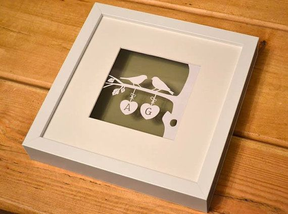 Love Birds (Branch) - Beautiful framed original papercut. Ideal for wedding…
