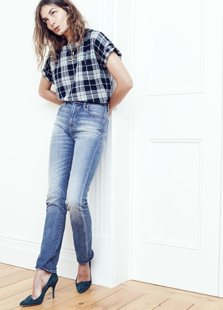 madewell perfect fall jean worn with the plaid oversized tee, the mira heel + bladedrop necklace set. #denimmadewell