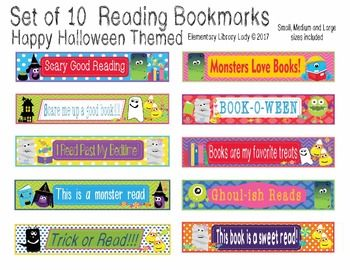 This Halloween Bookmark set includes 10 cute theme bookmarks in small, medium and large. Included are the small, medium and large blank images that can be used as Shelf Markers or Desk Name Plates as a PDF file, as well as medium and large editable bookmarks as a PowerPoint file.