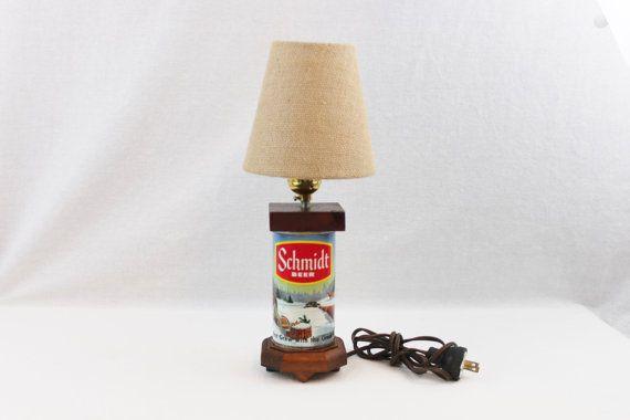 Vintage 1960s Schmidt Beer Can Lamp Retro Bar by RiverRatAntiques