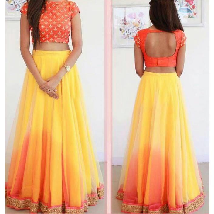 ,yellow ,orange ,ombre ,artsilk ,lacework ,lehenga ,surat4fashion ,semi_stitched  http://indiarush.com/art-silk-lace-work-yellow-plain-semi-stitched-lehenga-ylh/