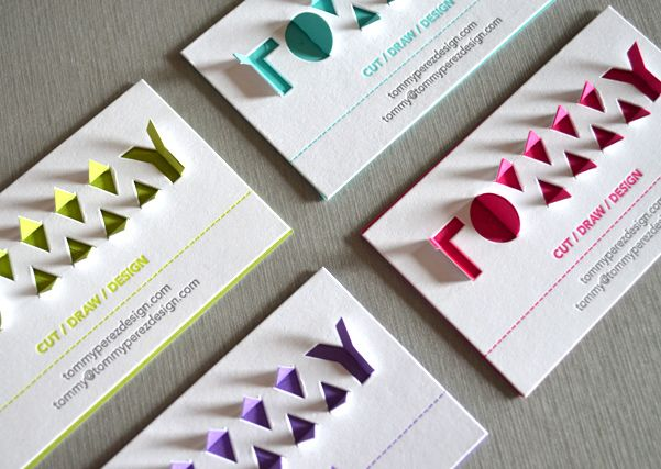 64 best creative business cards images on pinterest creative escapekit paperkut business card designer tommy perez has created interactive fold out letterpress business cards with a little folding the die cut tabs reheart Gallery
