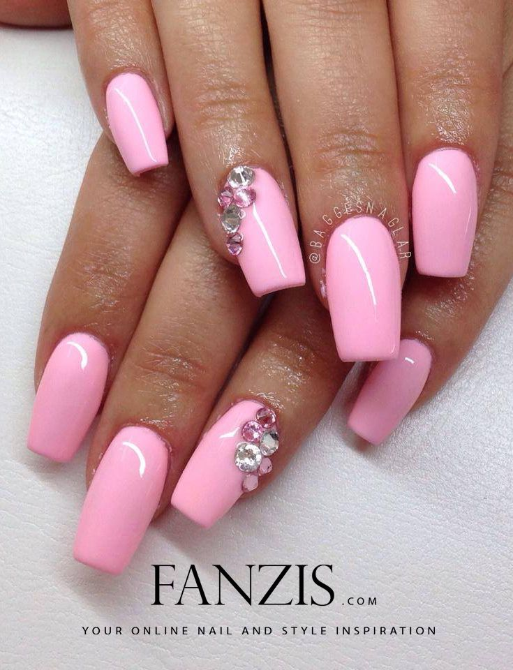The 25 best barbie nail salon ideas on pinterest wedding guest pink square gelnails with swarovski crystals barbie pink nail art prinsesfo Gallery