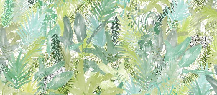 """Suunnittelija Lara Costafredan upeassa tapettimallistossa """"Alive, free and wild"""" yhdistyvät raikas Välimeren ilma ja tropiikin lämpö."""