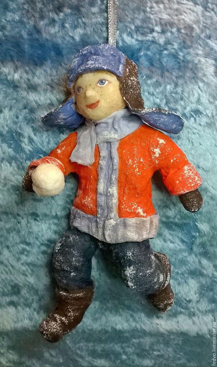 """Купить Ватная игрушка """" Мальчик со снежком""""(13 см) - куклы и игрушки, ватная игрушка"""