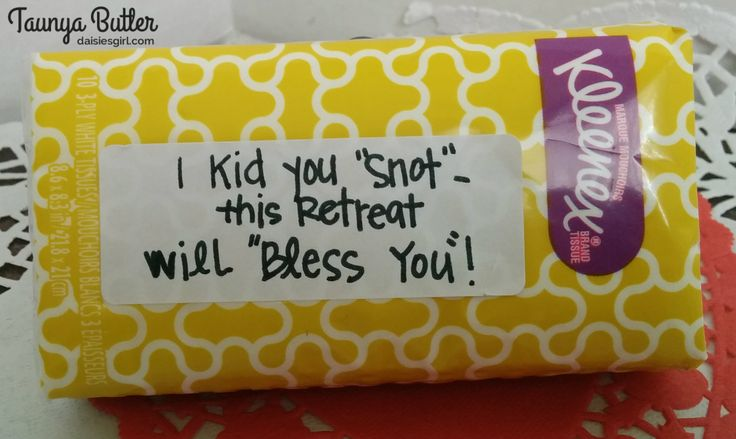 Kleenex tissues as a favor for a Women's Retreat!                                                                                                                                                                                 More