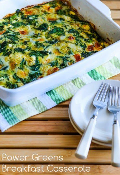 Power Greens Breakfast Casserole with Feta and Mozzarella found on KalynsKitchen.com
