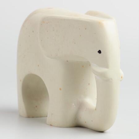 White Soapstone Elephant   World Market