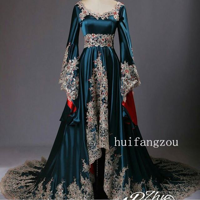 Details about Blue Lace Appliques With Detachable Evening Party Prom Dress Pageant Gown custom