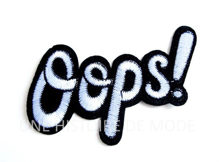 """Patch Ecusson thermocollant mot """" OOPS """" à coudre ou repasser 95 x 74 mm - Applique brodée : Déco, Customisation Textile par une-histoire-de-mode"""