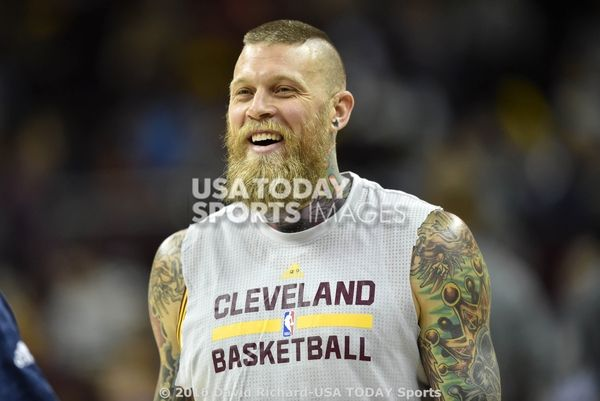 Oct 5, 2016; Cleveland, OH, USA; Cleveland Cavaliers forward Chris Andersen (00) warms up before a game against the Orlando Magic at Quicken Loans Arena. Mandatory Credit: David Richard-USA TODAY Sports