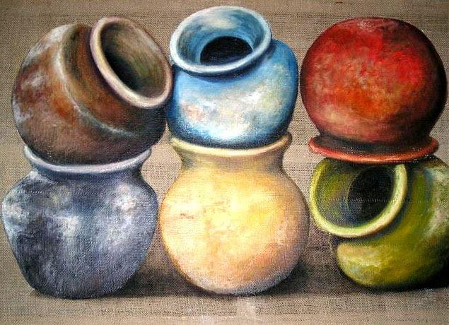 Cacharros sobre arpillera II. Artista: Elena Isla Casares