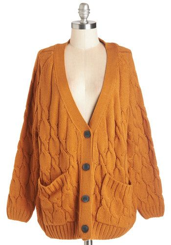 Layer For Keeps Cardigan. You love to explore the outdoors on beautifully breezy days and this pumpkin-orange cardigan is your go-to cozy companion. #gold #prom #modcloth