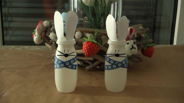 Osterhase Hase aus Actimel Verpackung Basteln Ostern DIY
