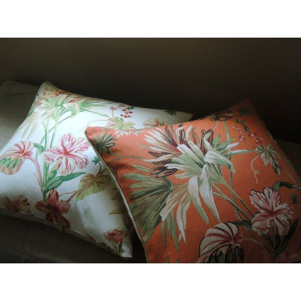 Tropical foliage floral linen cotton blend orange white green... ($40) ❤ liked on Polyvore featuring home, home decor, throw pillows, floral toss pillows, floral throw pillows, orange home decor, orange accent pillows and colorful throw pillows