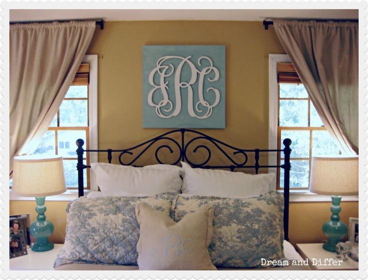 Wooden monogram over bed home decor pinterest wall - Over the bed decor ...